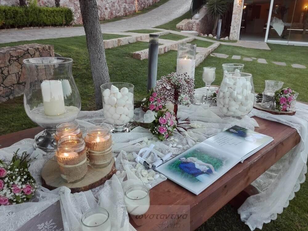 3a6996be71da Τραπέζι υποδοχής με Βιβλίο ευχών - Ανθοστολισμός by Konstantina Flowers
